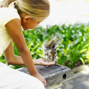 Side profile of a young girl (10-11) feeding a squirrel